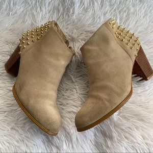 Zara Women Suede Studded Ankle Booties Boots SZ 39